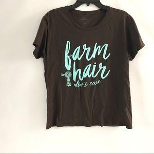 New Tee T-Shirt Farm Hair Day Don't Care XL Brown